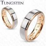 Gold & Silver Two Tone Tungsten Couple's Ring Set