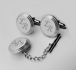 Silver Beveled Cuff Links & Tie Pin Set