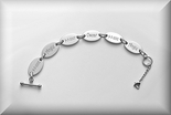 Engraved Silver Link to Link Ladies Personalized Oval Bracelet