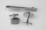 Stainless Steel Two Tone Cuff Link & Tie Clip Set