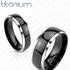 Titanium Two Tone Dome Band Black IP Center Ring Set