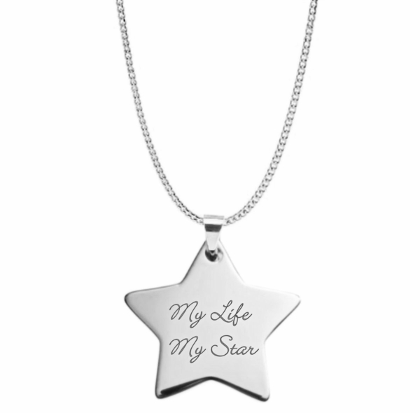 Personalized Silver Star Necklace Pendant Engraved Free