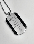 Engraved Stainless Steel Dog Tag Necklace With Double Gem