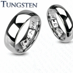 Engraved Tungsten Traditional Wedding Band