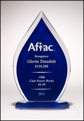 Flame Series Blue Acrylic Award Trophy
