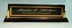 Genuine Cherrywood & Brass Desk sign