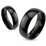 Glossy Mirror Polished Black IP Solid Titanium Ring