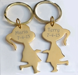 Gold Best Friends Keychain Set
