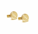 Gold Beveled Circle Cufflinks