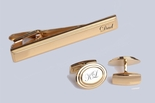 Gold Beveled Edge Oval Cufflinks & Tie Clip Set