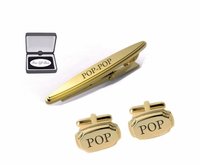 Gold Cufflinks & Beveled Tie Clip Set