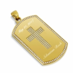 Gold Dog Tag Pendant with Gem Cross Inlay
