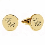 Gold Filled Stainless Steel Circle Cufflinks