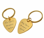 Gold Guitar Pick Keychain Set