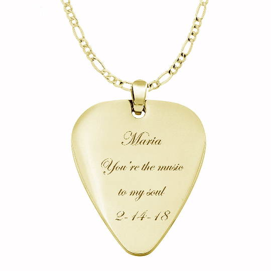 Gold guitar pick necklace engraved necklaces gold guitar pick necklace aloadofball Image collections