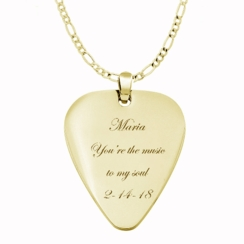 Gold Guitar Pick Necklace