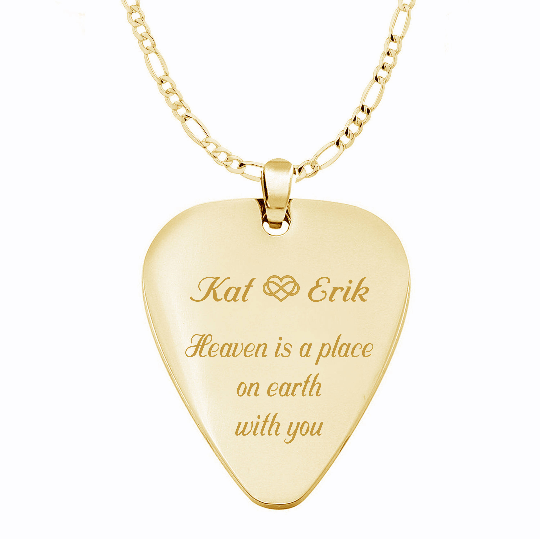 Gold guitar pick necklace engraved necklaces gold guitar pick necklace mozeypictures Choice Image