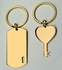 Gold His and Hers Couples Dog Tag and Heart & Key Chain Set