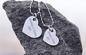 Gold or Silver Stainless Steel Heart Necklace Set