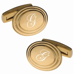 Gold Oval Beveled Edge Cufflink Set
