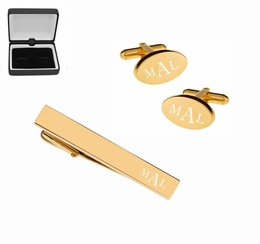 Gold Oval Cufflink & Tie Clip Set