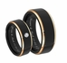 Black & Gold CZ Stainless Steel Ring Set