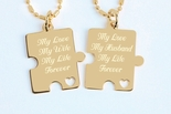 Gold Plated Stainless Steel Puzzle Piece Necklace Set