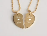 Gold Stainless Steel Extra Small Broken Heart Necklace