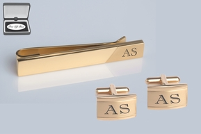 Gold Two Tone Cufflink & Tie Clip Set