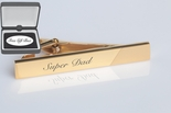 Gold Tie Clip with Diagonal Satin Accent