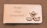 Golf Clubs Brushed Gold Money Clip