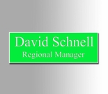 Green and White Name Badge 1x3