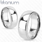 Grooved Edge with Dome Center Solid Titanium Ring