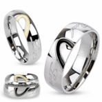 "Half Heart Two Tone ""Real Love"" Dome Band Ring Set"