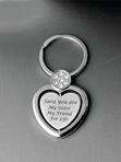 Heart Keychain With Stone Engraved