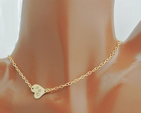 High Polished Gold Sideways Heart Necklace