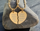 High Polished Gold Small Stainless Steel Broken Heart Necklaces