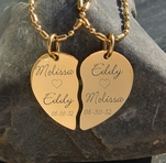 High Polished Gold Stainless Steel Broken Heart Necklace