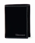 High Quality Black Leather Tri-Fold Wallet