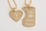 Mini His & Hers Gold Dog Tag Heart Necklace Set