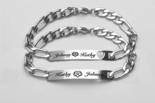His and Hers Stainless Steel Skinny Bracelet Set