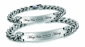 His & Hers Stainless Steel Curb Link ID Bracelet Set