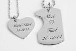 Mini His & Hers Dog Tag Heart Small Necklaces