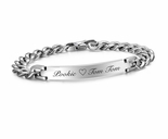 Ladies Silver Stainless Steel Curb Link ID Bracelet