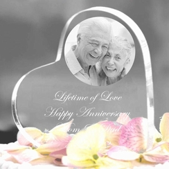 Laser Engraved Anniversary Photo Heart