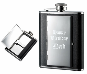Leather 6oz Flask and Cigarette Case