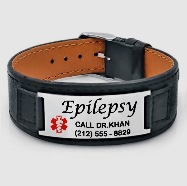 Leather medical alert id bracelet mozeypictures Images