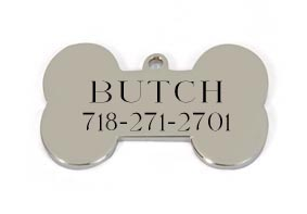 Medium Silver Bone Pet Tag
