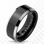 Men's Personalized Black Matte Tungsten & Titanium Ring