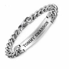 Men's Silver Stainless Steel Curb Link ID Bracelet